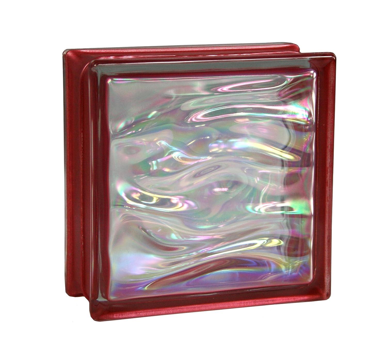 6 St/ück BM Glassteine AQUA Perlmutt Rubin 19x19x8 cm
