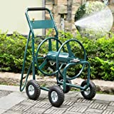 go2buy Heavy Duty Garden Hose Reel Cart with Wheels 300ft Water Hose Holder & Storage Basket