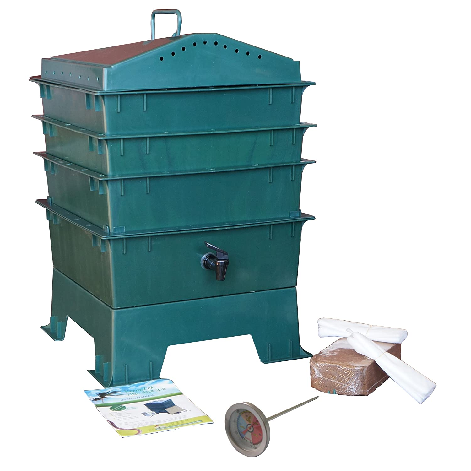 VermiHut 3-Tray Worm Compost Bin with Free Thermometer-Dark Green