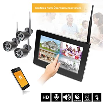 9 Pantalla táctil HD Video Vigilancia con monitor Radio Vigilancia Tiempo real con disco duro
