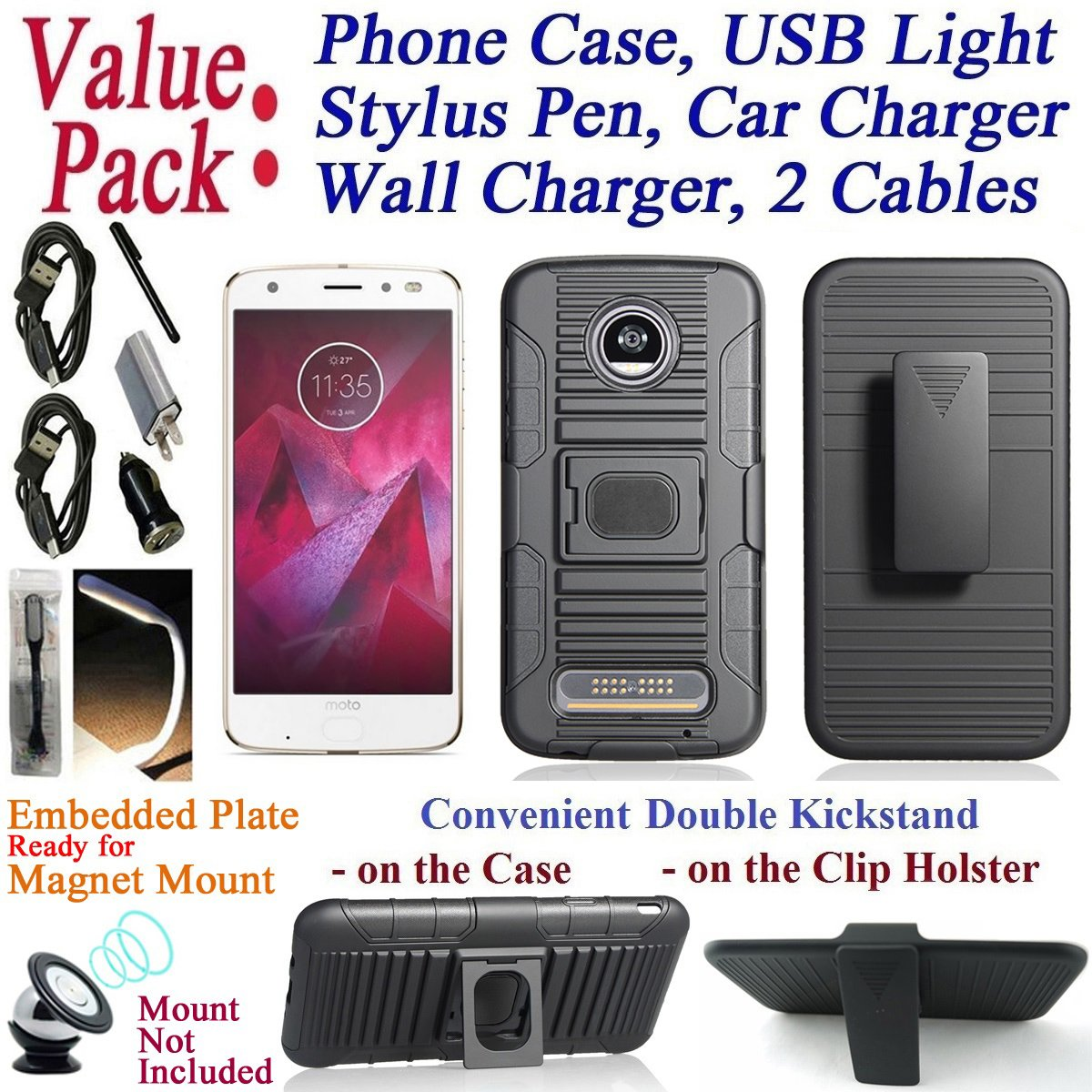 Value Pack + for 5.5'' Motorola moto Z2 Play Z2 Force Case Phone Case Belt Holster 2 KickStand Magnet Mount Ready Hybrid Armor Shock Bumper Cover (Black)