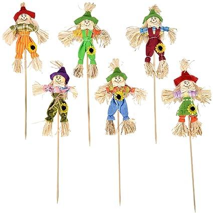 Amazon Com Gift Boutique 12 Pack Mini Thanksgiving Scarecrow Picks