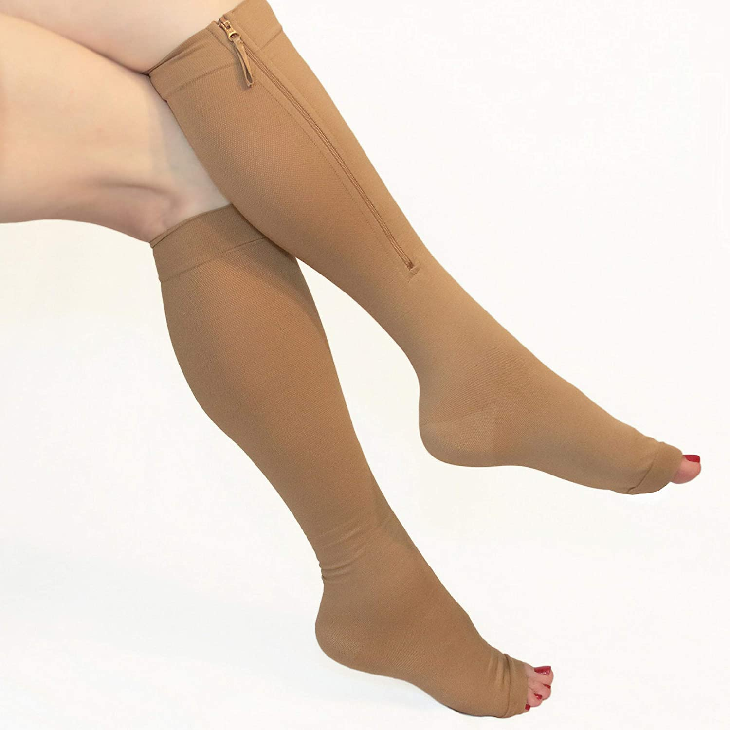 Compression Socks Varicose Veins DVT Pain Relief. Full Length Zip Up
