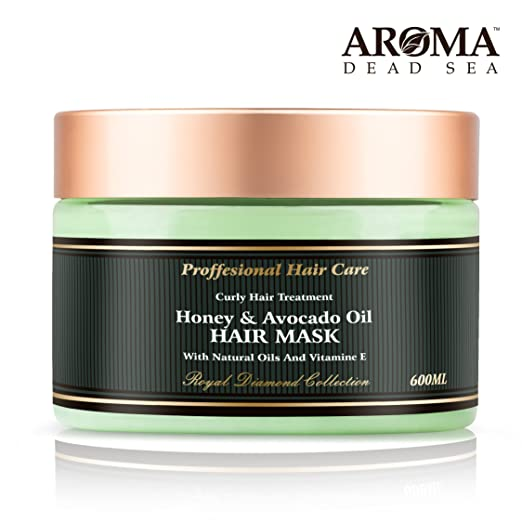 Aroma Premium Natural Hair Mask – 600ml, Honey Avocado Dry Hair Mask - 26 Dead Sea Minerals & Natural Ingredients - Perfect for Breast-Feeding & Pregnant Women - Treat Split Ends Follicles & Hair Loss