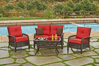 Miraculous Amazon Com 4 Piece Beacon Cappuccino Resin Wicker Patio Alphanode Cool Chair Designs And Ideas Alphanodeonline
