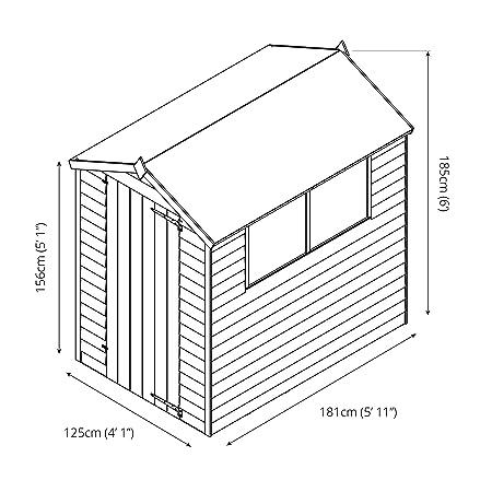 Waltons - Caseta de madera solapada (1, 83 x 1, 22 m, tejado a dos aguas): Amazon.es: Jardín