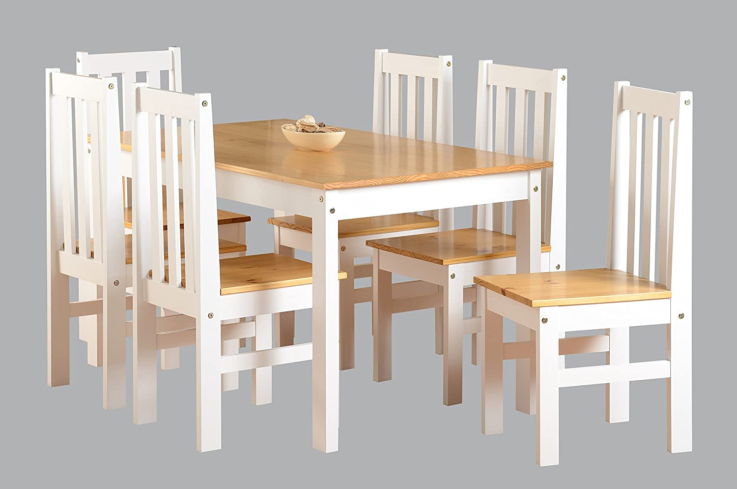 Ludlow Contrasting Pine And White Dining Set With 6 Chairs   Ludlow Dining  Range: Amazon.co.uk: Kitchen U0026 Home