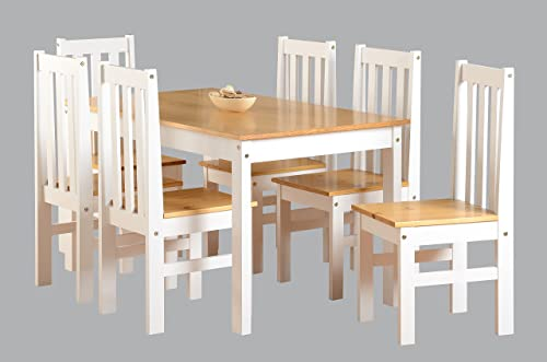 Ludlow Contrasting Pine And White Dining Set With 6 Chairs   Ludlow Dining  Range