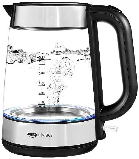 Amazon.com: AmazonBasics - Hervidor eléctrico de cristal y ...