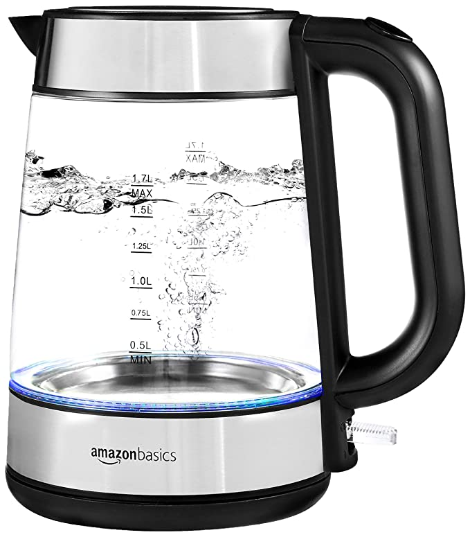 AmazonBasics Electric Glass and Steel Kettle - 1.7 Liter best electric tea kettle