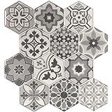 LONGKING Peel and Stick Tile Backsplash for Kitchen, Stick on Decorative Tiles (10 Tiles), Grey, LKA2337B0
