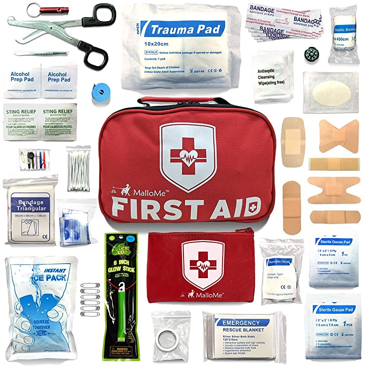 MalloMe First Aid Kit For Car, Travel, Home, Businesses, Hiking, Camping