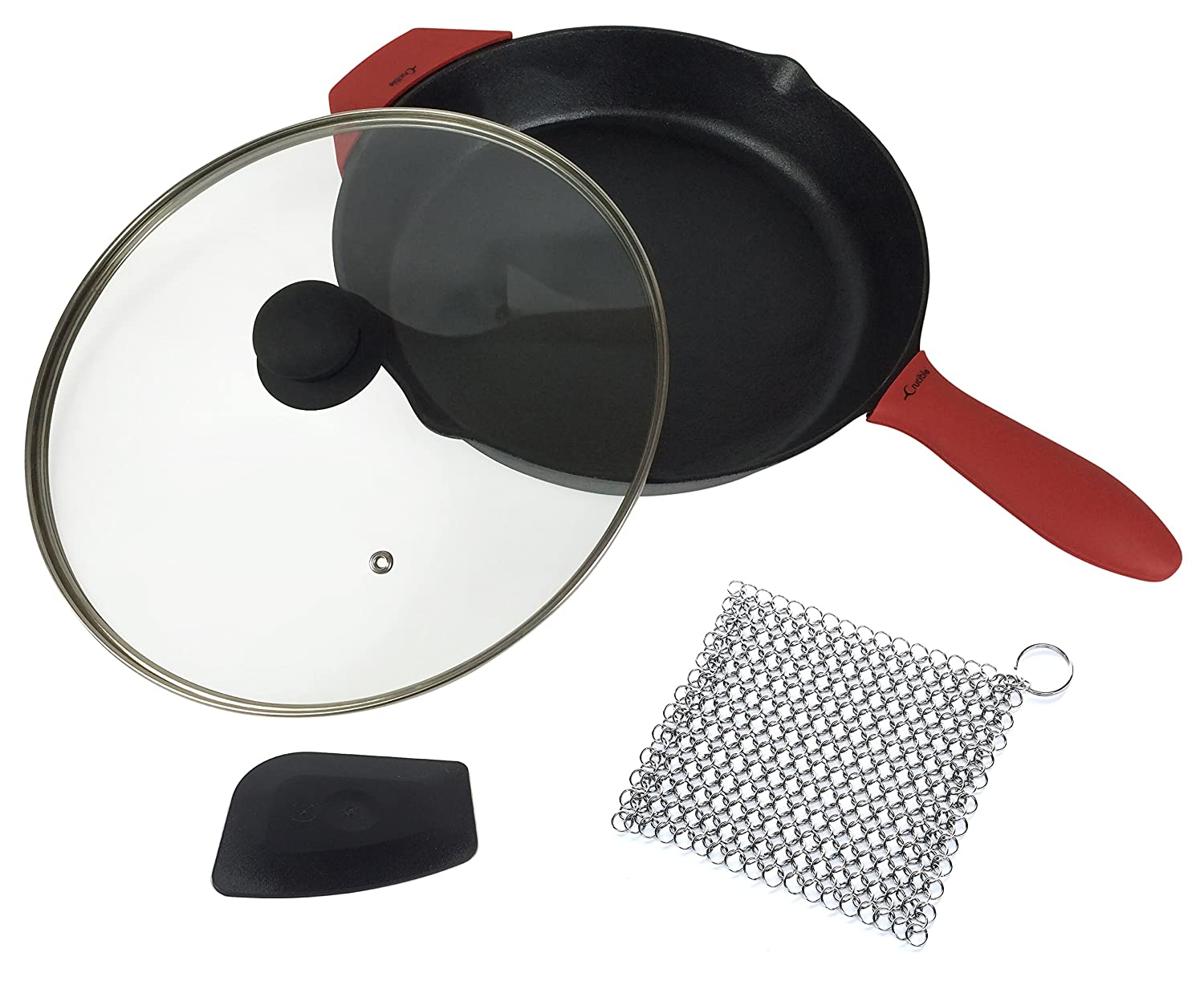 12-Inch Cast Iron Skillet Set (Pre-Seasoned), Including Large & Assist Silicone Hot Handle Holders, Glass Lid, Cast Iron Cleaner Chainmail Scrubber, Scraper | Indoor & Outdoor Use