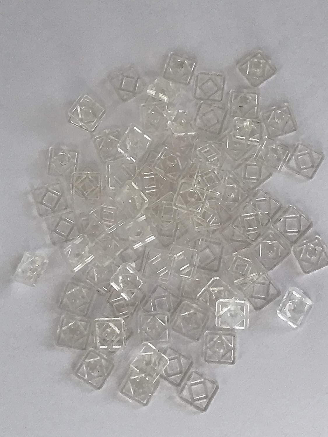 40 pairs of 7mm Clear Nylon Invisible Square Snap Fastener Press Stud Popper Free UK Postage