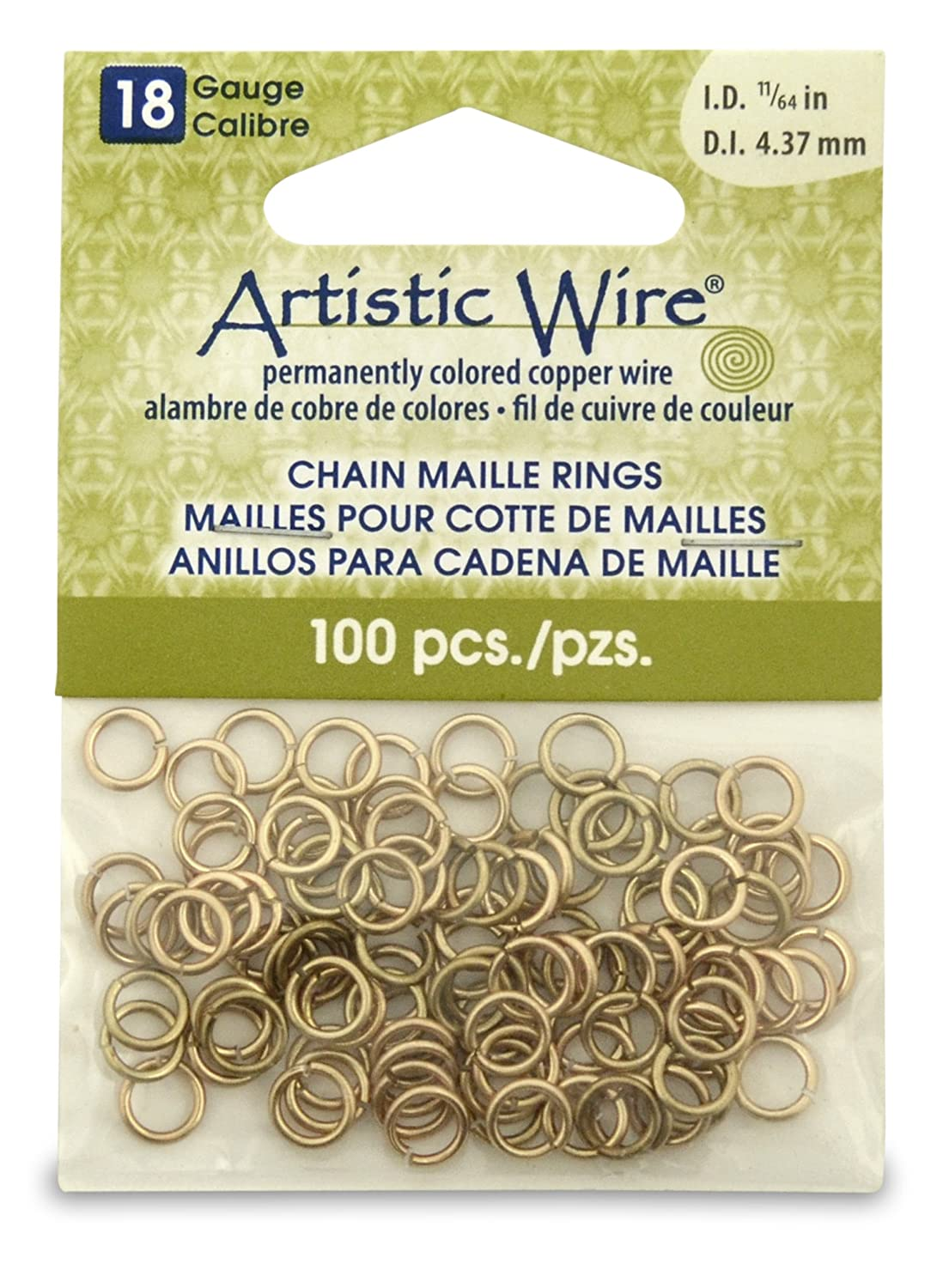 Artistic Wire Beadalon 11/64-inch 100 Piece 18-Gauge Non-Tarnish Chain Maille Rings, Brass A314-18-NTB-07