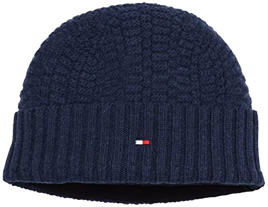 Tommy Hilfiger Structured Knit Beanie, Bonnet Homme, Bleu (Sky Captain  Heather 462)