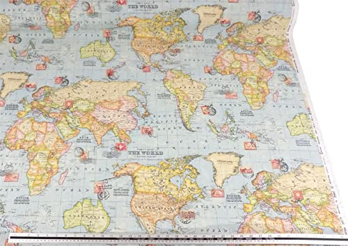 Prestigious atlas world map azure prestigious designer fabric by the map of the world blue cotton blend high quality fabric material a4 sample gumiabroncs Image collections