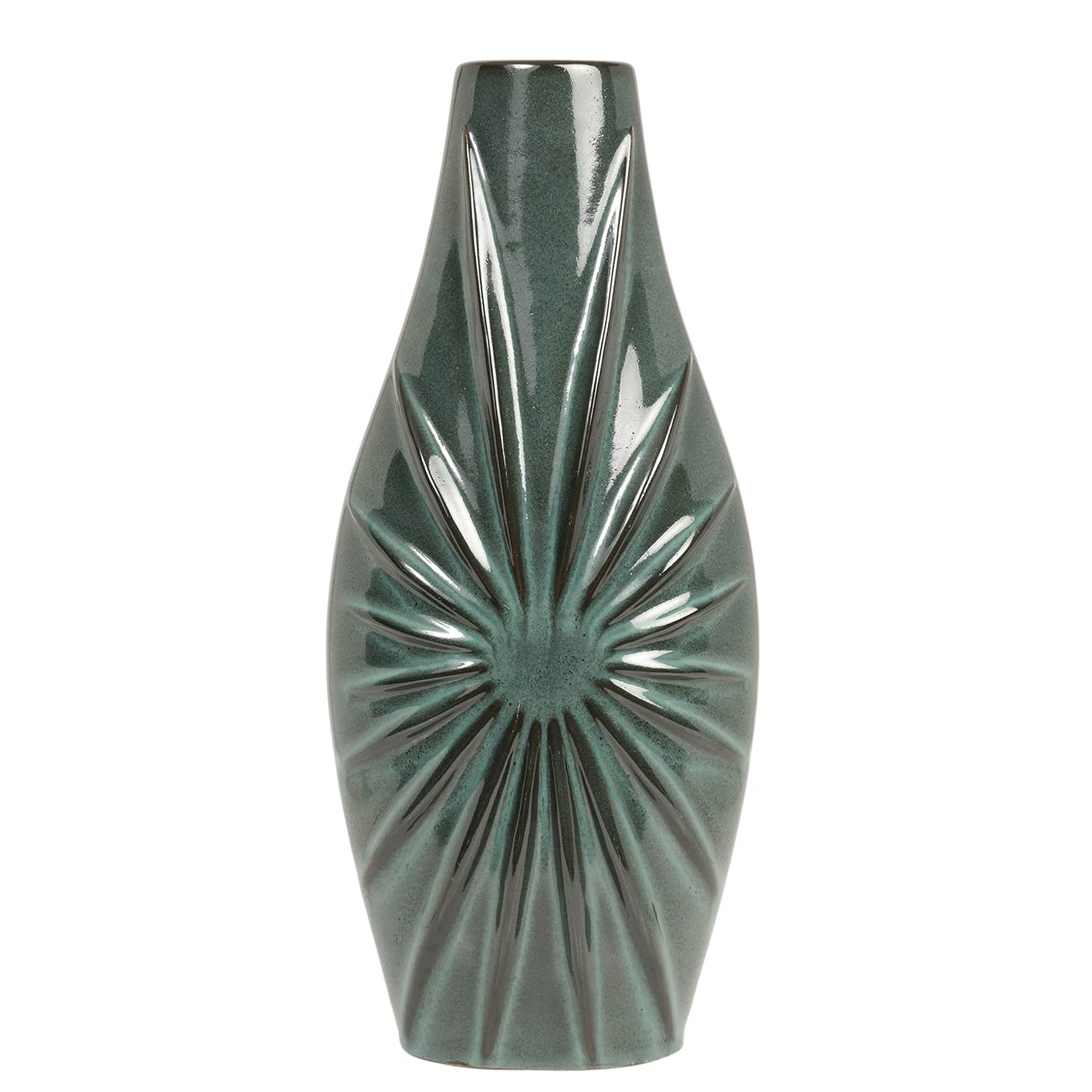 Hosley 14'' High Blue/Green Ceramic Starburst Vase. Perfect for Wedding or Special Occasion, Special Events, Aromatherapy, Spa, Reiki, Meditation Settings O9