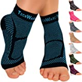 TechWare Pro Ankle Brace Compression Sleeve - Relieves Achilles Tendonitis, Joint Pain. Plantar Fasciitis Foot Sock with Arch Support Reduces Swelling & Heel Spur Pain. (Black/Blue, XXL)