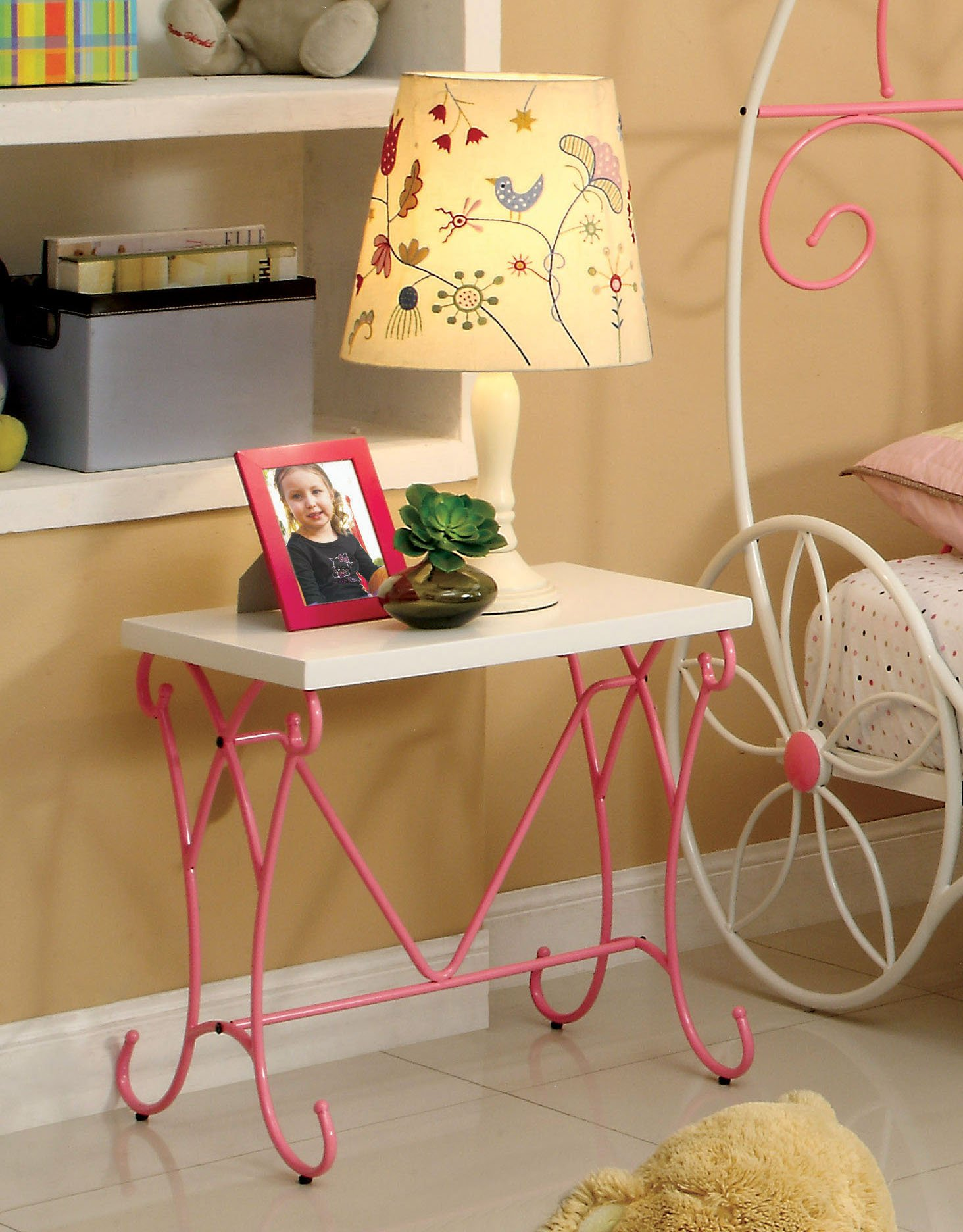 HOMES: Inside + Out Furniture of America Ashley Fairy Tale Nightstand, Pink & White by HOMES: Inside + Out