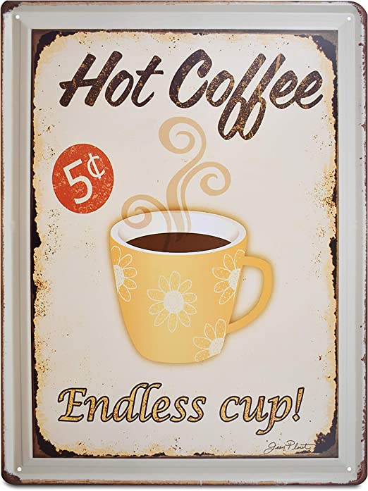 Metal Tin Sign endless cup coffee Bar Pub Home Vintage Retro Poster Cafe ART
