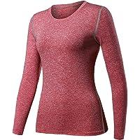 HuaTu Women Performance Compression Base Layer Long Sleeve Crew Neck Tops Tee T Shirts