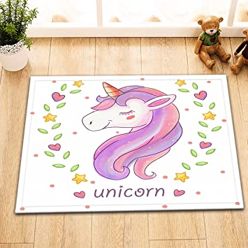 LB Pink Unicorn Drawing Decor Rugs For Bathroom Bedroom Safe Non Slip Rubber Backing