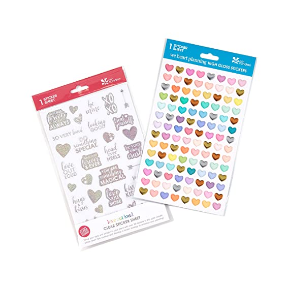 Erin Condren Designer Sticker Love Bundle - Love Out Loud and We Heart Planning Sticker Sheets 2 - Pack (137 Heart - Themed Stickers)