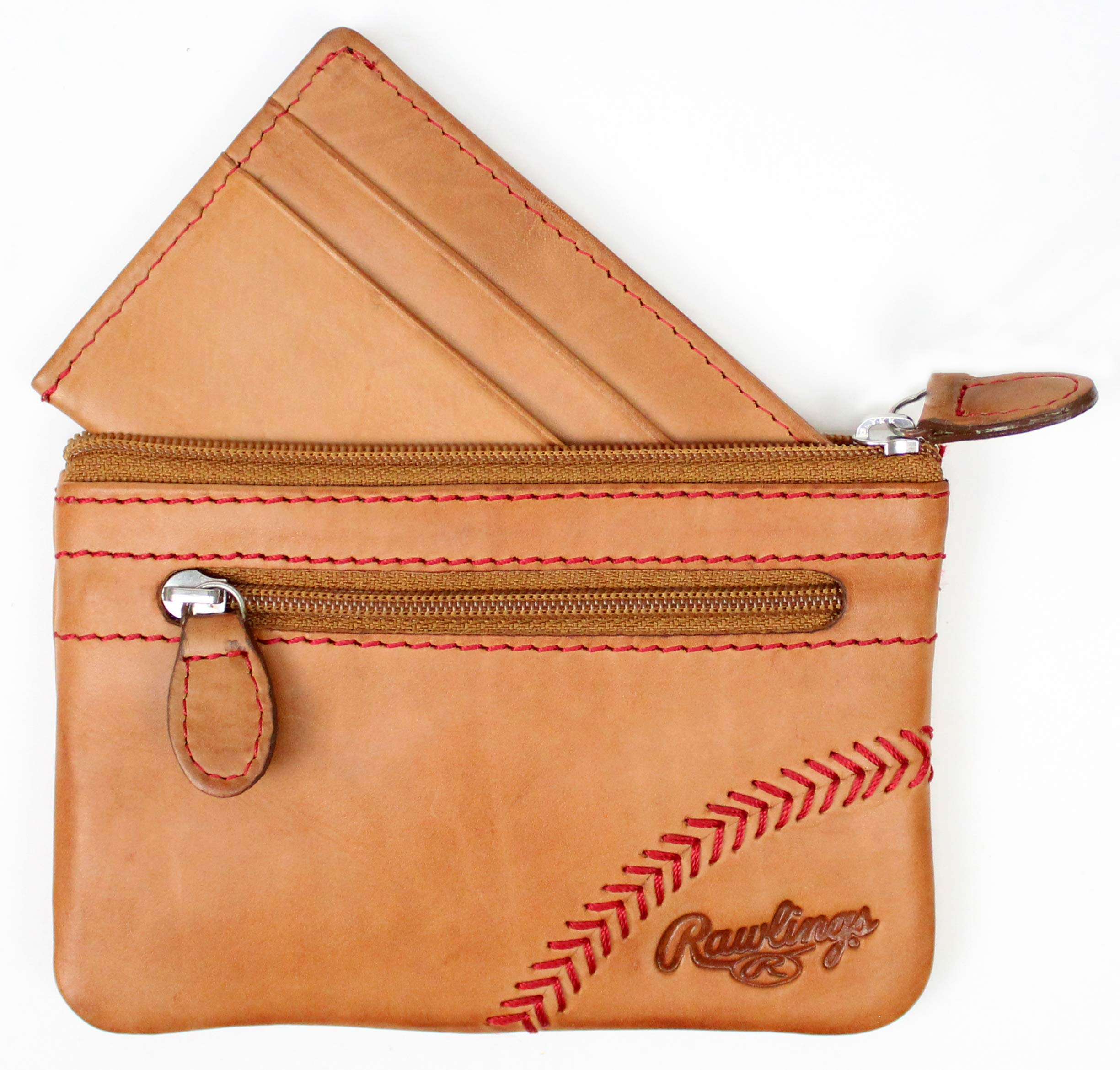 Rawlings Baseball Stitch Pouch With Credit Card Insert (Tan) by Rawlings