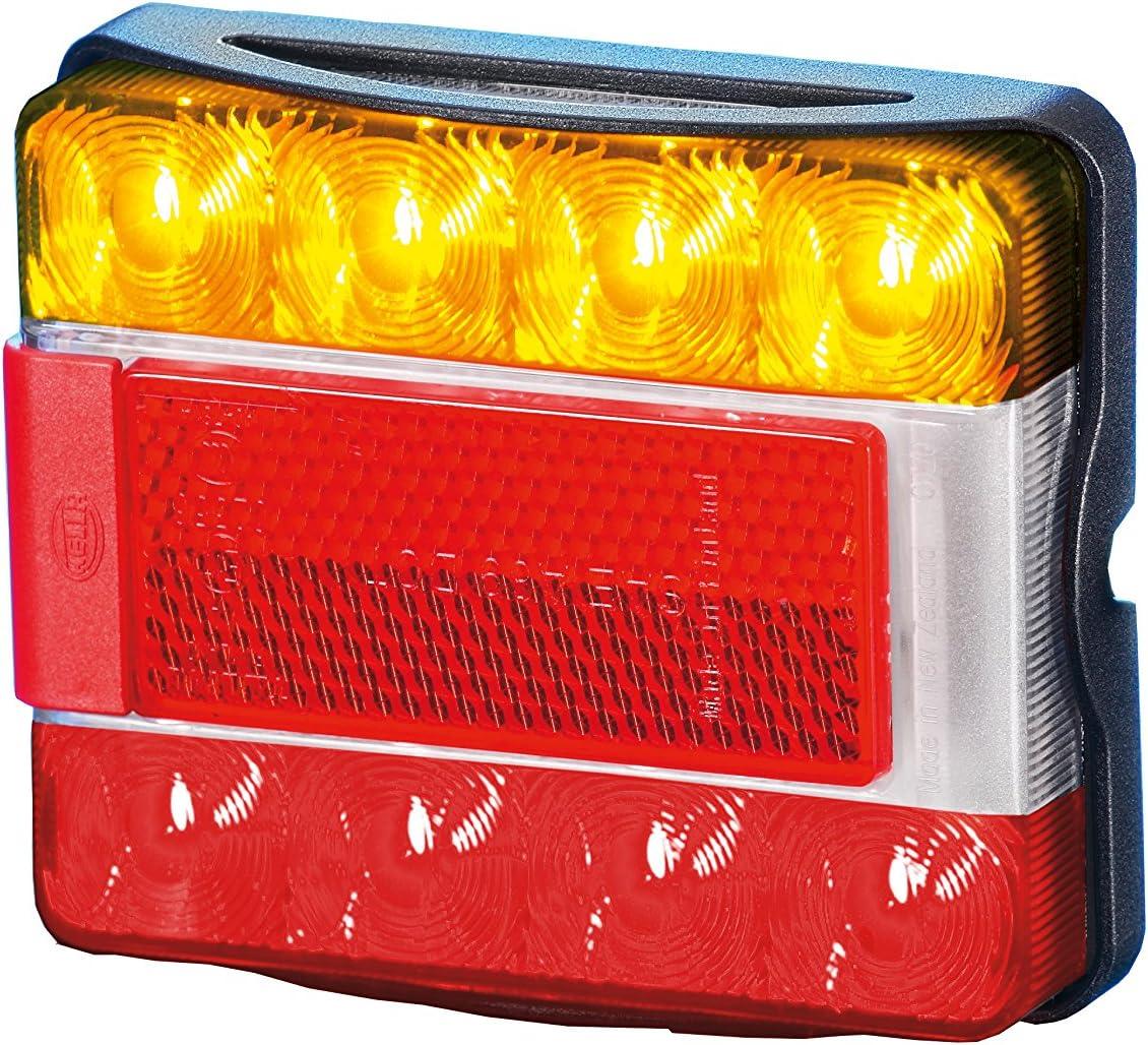 500 mm Leitung mit abisolierten Enden Lichtscheibe glasklar 8 LEDs HELLA 2VA 980 720-001 SBBLR Schluss-Brems-Blinkleuchte mit Rückstrahler Rückstrahler Anbau horizontal // vertikal abnehmbarer schwarzer Halterahmen fest aufgeklebt 8RA 004 412-021