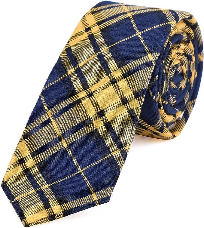 DonDon Corbata de cuadros e rayas de algodón para hombres de 6 cm ...