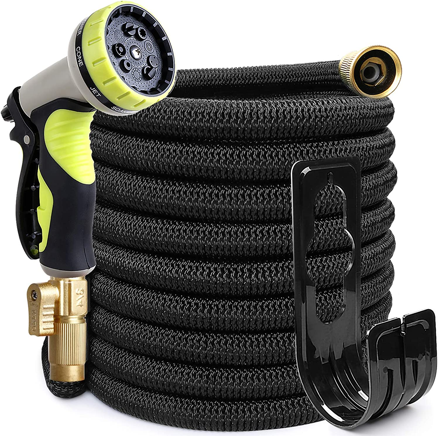 EOOIO 75FT Garden Hose, Flexible Water Hose with 100% Solid Brass Valve 9 Function Hose Nozzle, Outdoor Hose Lightweight Gardening Yard Hoses