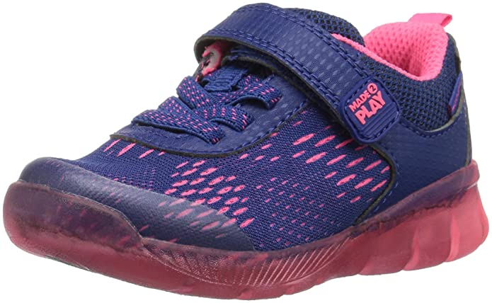 Stride Rite Girls' Made 2 Play Lighted Neo Sneaker, Navy/Pink, 13.5 M US Little Kid; sneakers that last; children's sneakers that last a long time; children's sneakers that hold up