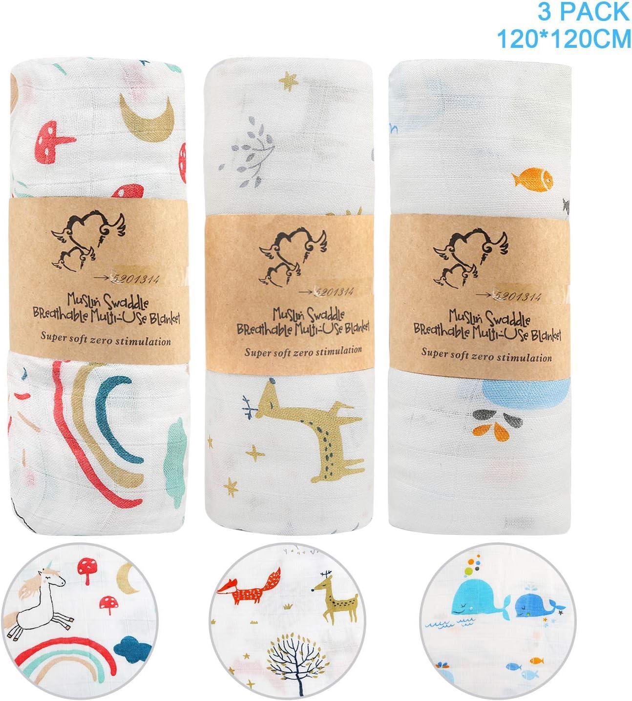 120x120 cm Grande Mantas de Muselina de Bamb/ú Algod/ón para Bebes Reci/én Nacidos Paquete de 3 Envoltura de Muselina Mantas BelleStyle Mantas Swaddle Beb/é