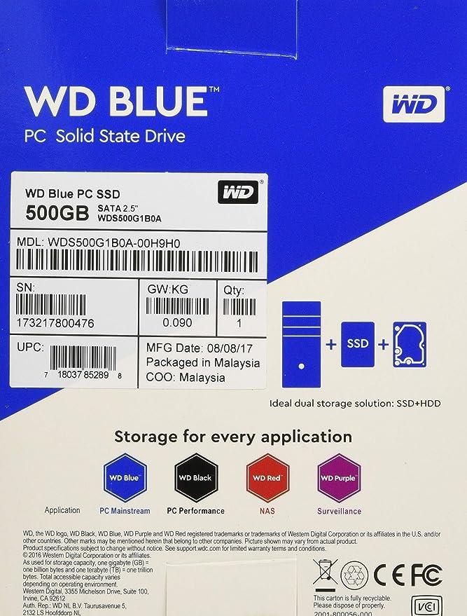 WD Blue, disco de estado sólido (SSD) interno de 500 GB - SATA a 6 ...
