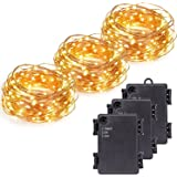 Kohree 3 Pack Micro 30 LEDs Super Bright Warm White Decor Rope Lights Battery Operated on 10 Ft Long Ultra Thin String Copper Wire For Christmas, Holiday, Wedding, Parties With Timer Battery Box