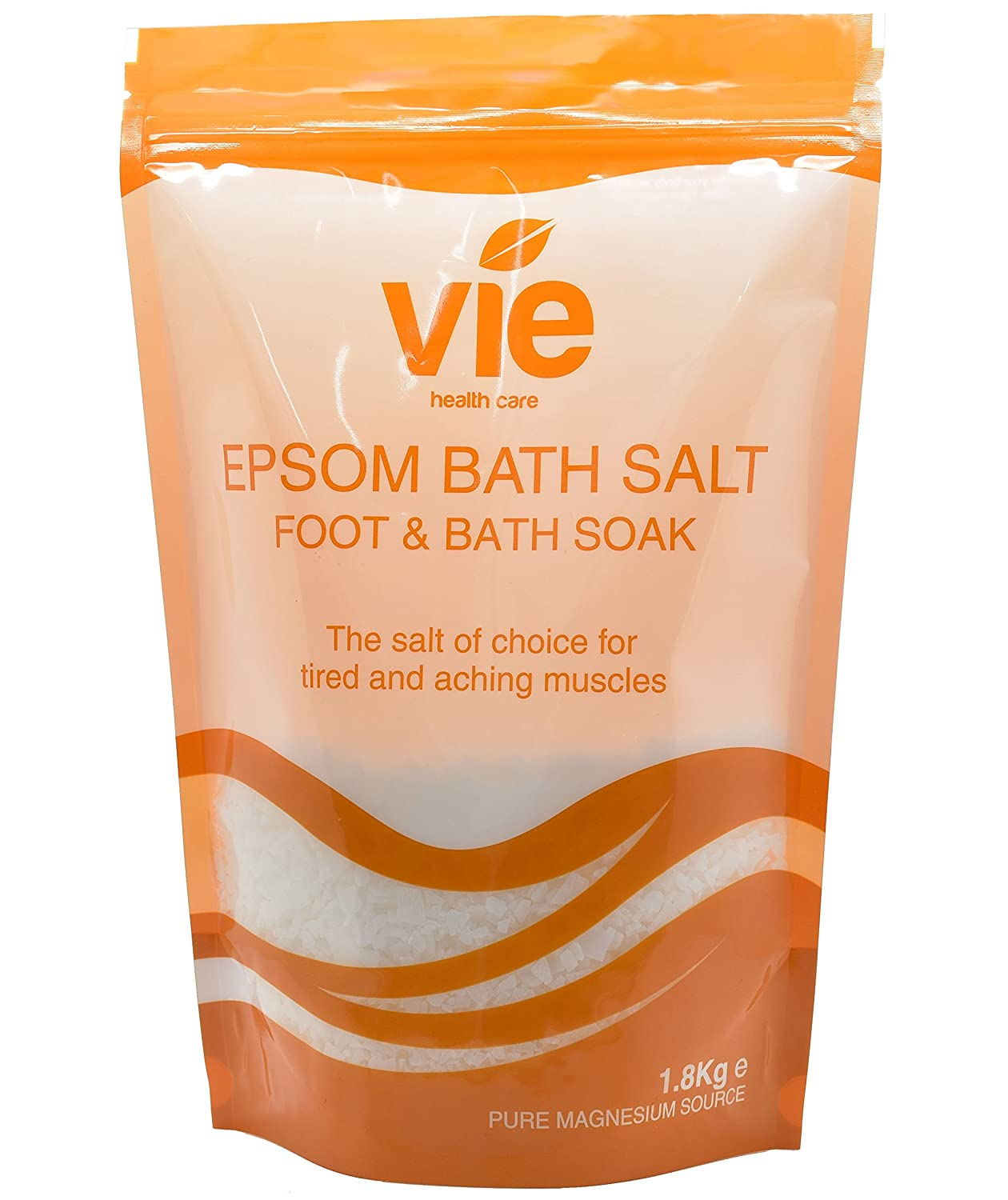 Vie Healthcare Epsom Salts – 1.8kg Ideal for the Skin, Encourage Overall Relaxation, Promote Nerve Function and Help Sore Muscles, Increase Body's Magnesium Levels VHB-109