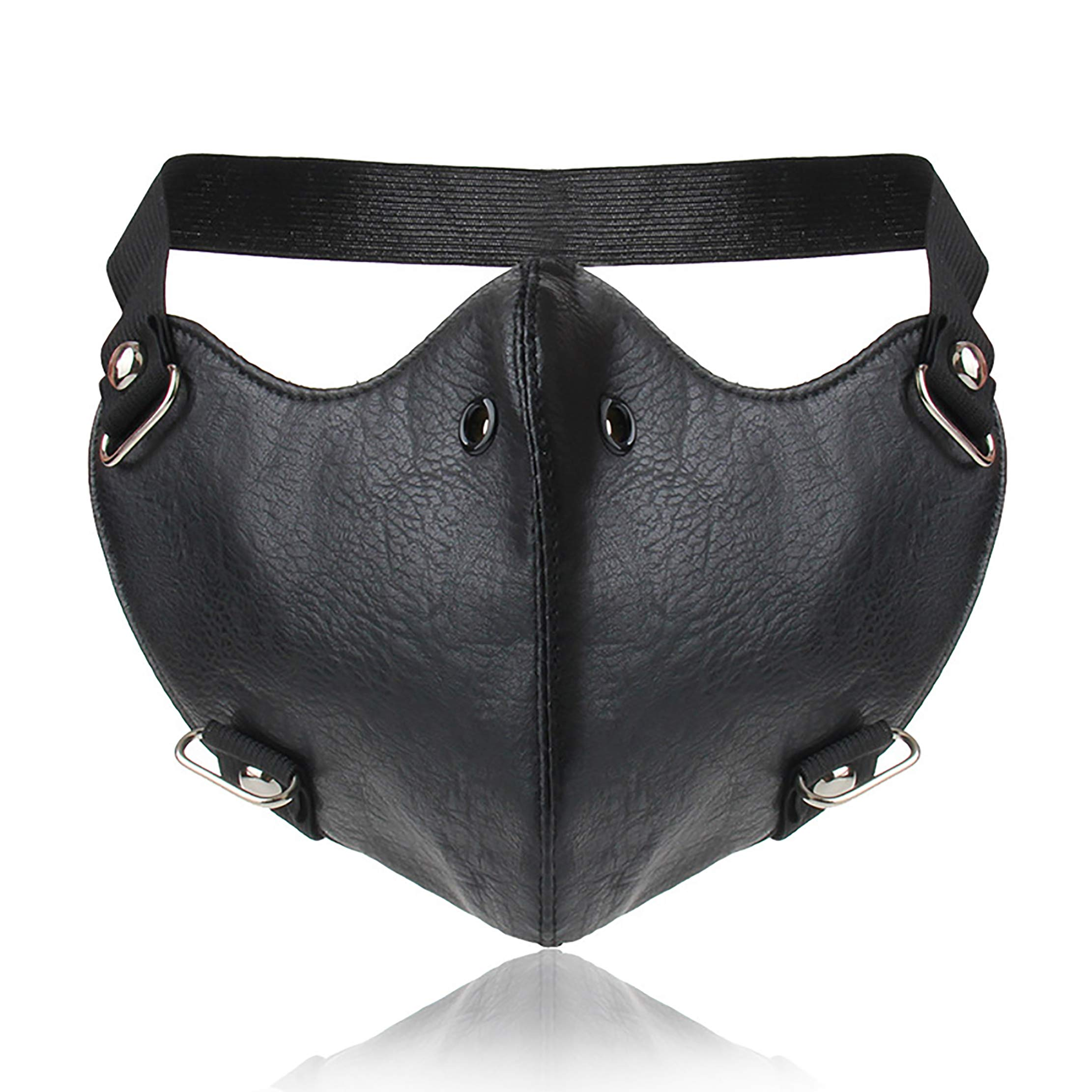 Yes I am PU Leather Sports Half Face Punk Cosplay Wind Protective Motorcycle Anti-Dust Mask (Black-1)