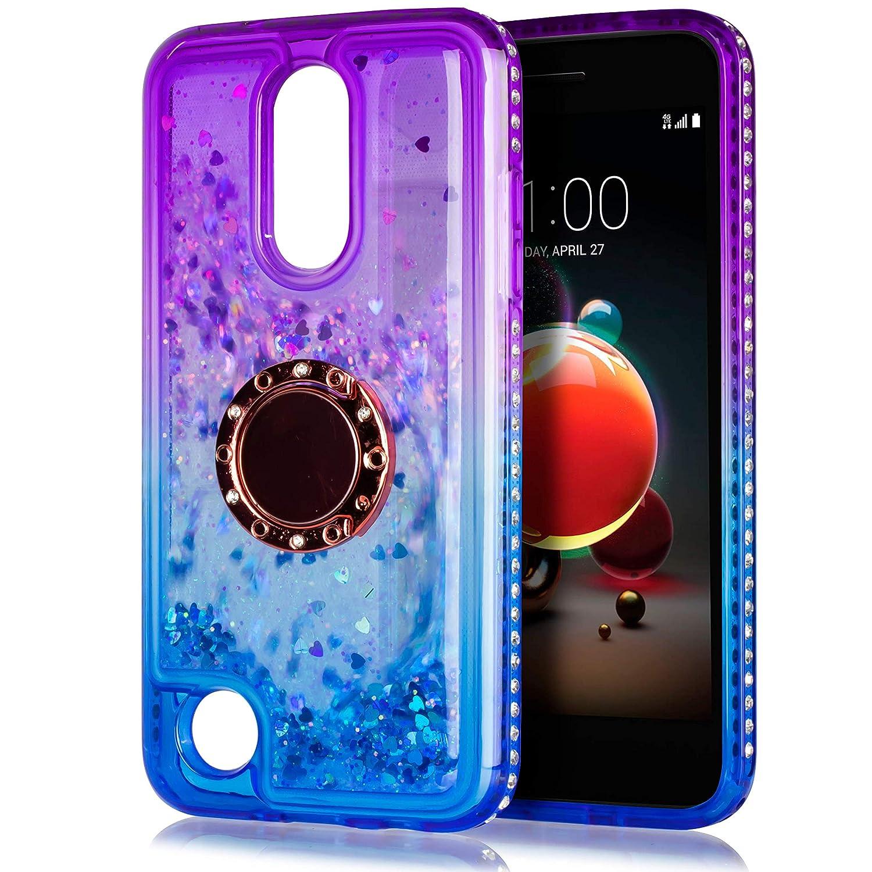 LG Aristo 2 Case, for LG Aristo 2 Plus/Zone 4 /Tribute Dynasty/Phoenix 4/Fortune 2/Rebel 4 LTE/Risio 3/K8+/K8 Plus Glitter Motion Case, with Tempered Glass Protector Ring Kickstand (Purple)