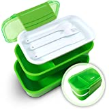 Effiliv Bento Box Lunch Boxes - Food Containers Stackable - Green