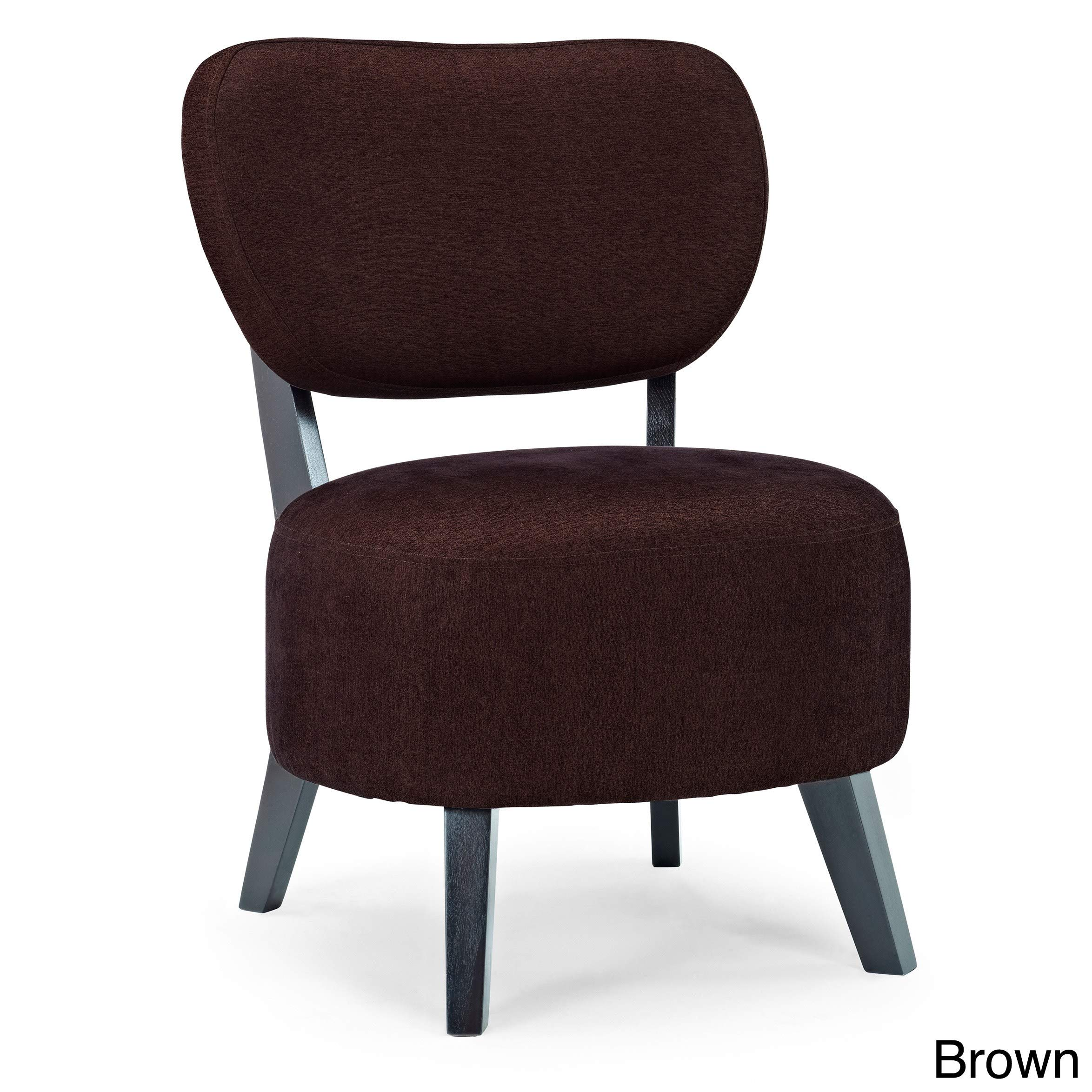 Dwell Home Inc Sphere Ivory Foam/Polyester/Wood Accent Chair Brown
