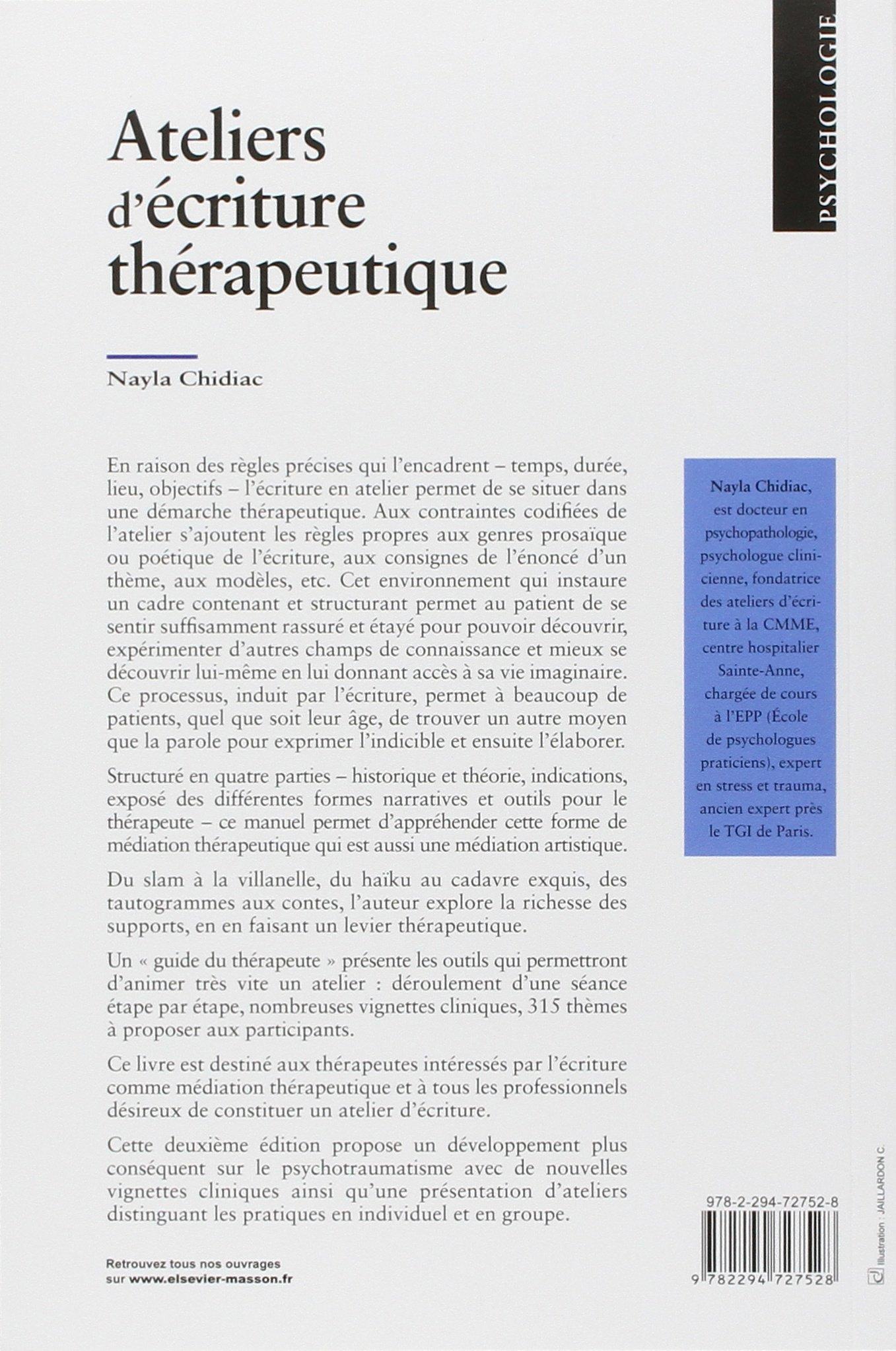 Amazon.fr - Ateliers d'écriture thérapeutique - Nayla Chidiac-Grizot -  Livres