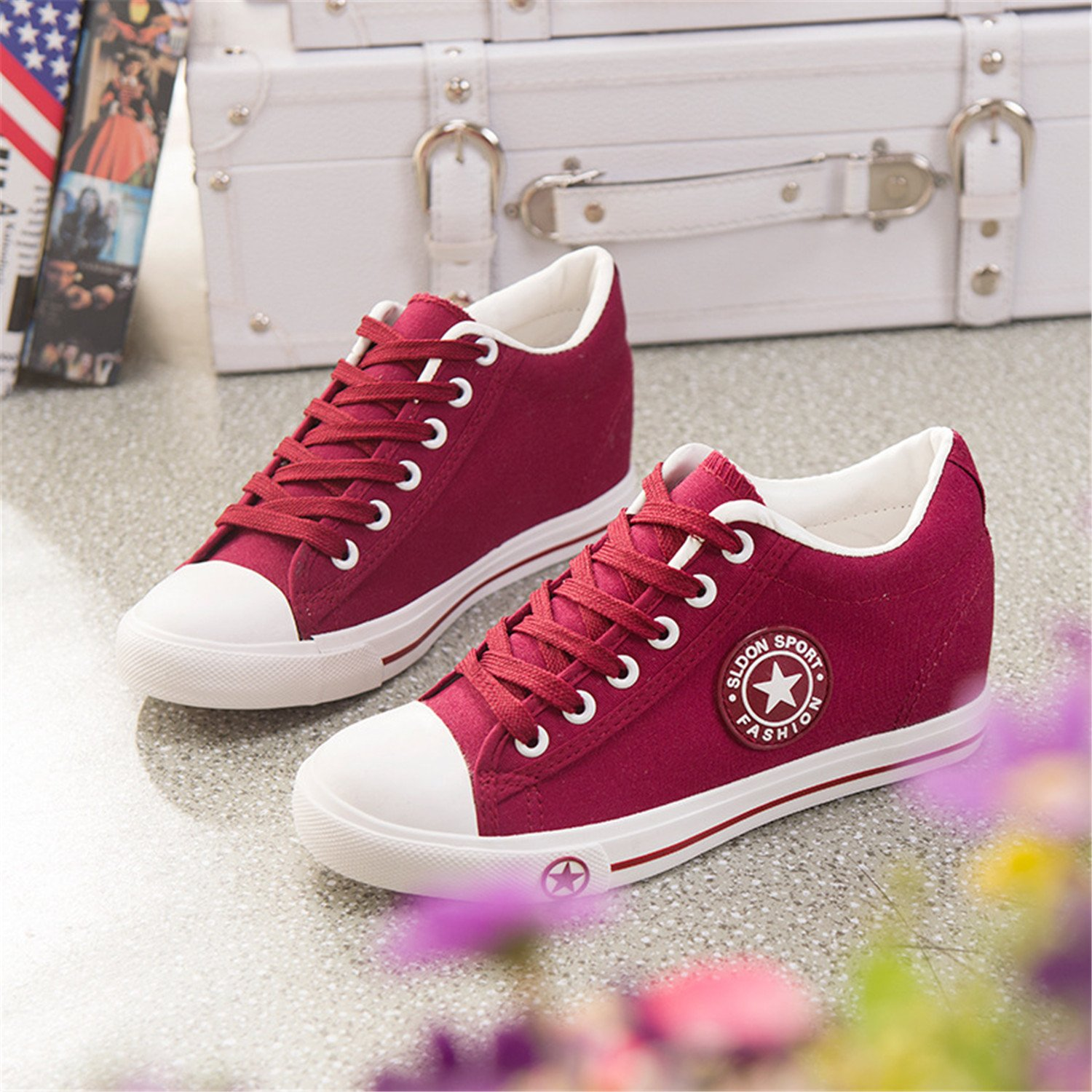 7d81c938e92bd Summer Sneakers Wedges Canvas Shoes Women Casual Shoes Female Cute White  Basket Stars Zapatos  Amazon.ca  Shoes   Handbags