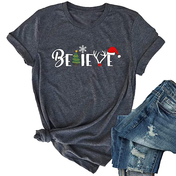 Christmas Shirt Sayings.Christmas Believe Tree Shirt Cute Short Sleeve Christmas Graphic Tee Shirts Tops For Women Christmas Shirts With Sayings