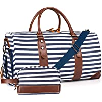 Oflamn Weekender Canvas Leather Carry On Duffle Bag