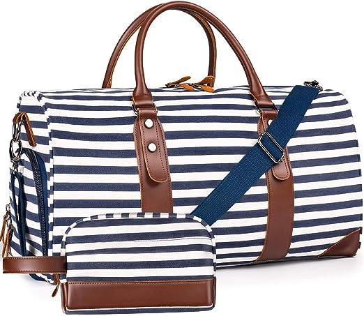 "Oflamn 21"" Weekender Bags Canvas Leather Duffle Bag"