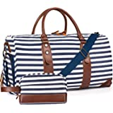 """Oflamn 21"""" Weekender Bags Canvas Leather Duffle Bag Overnight Travel Carry On Tote Bag with Luggage Sleeve (Blue/White Stripe"""