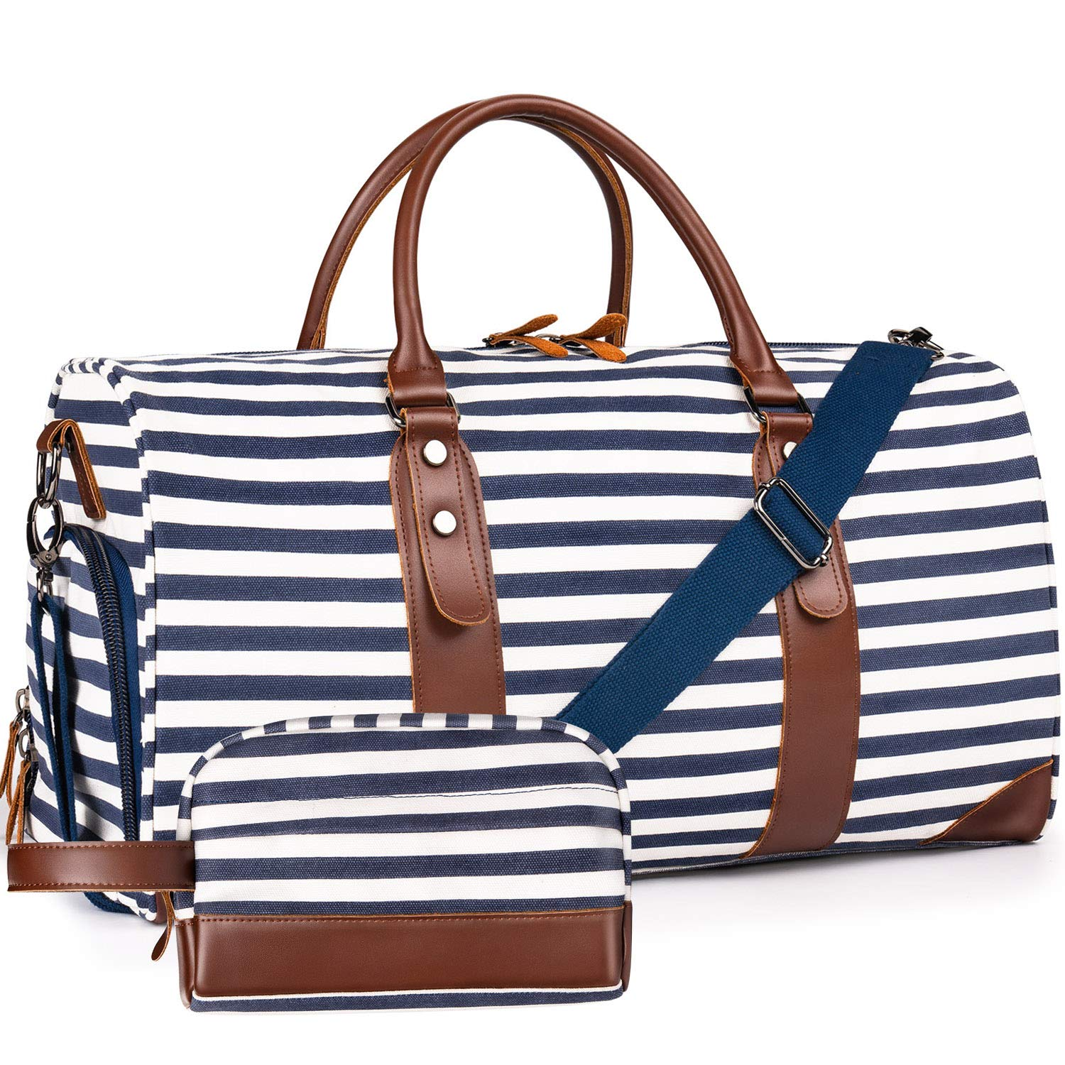 Oflamn Weekender Bags Canvas Leather Duffle Bag Overnight Travel Carry On Tote Bag with Shoe Pouch (Blue/White Striped) by Oflamn