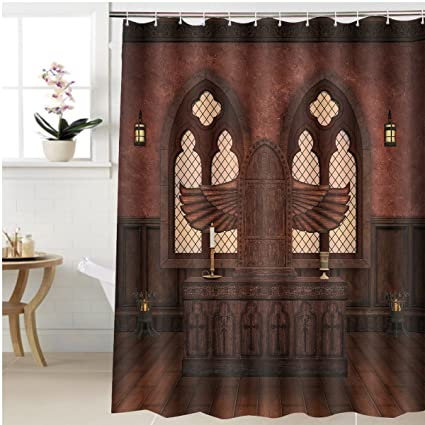 Gzhihine Shower Curtain Medieval Altar Bathroom Accessories 72 X 92 Inches