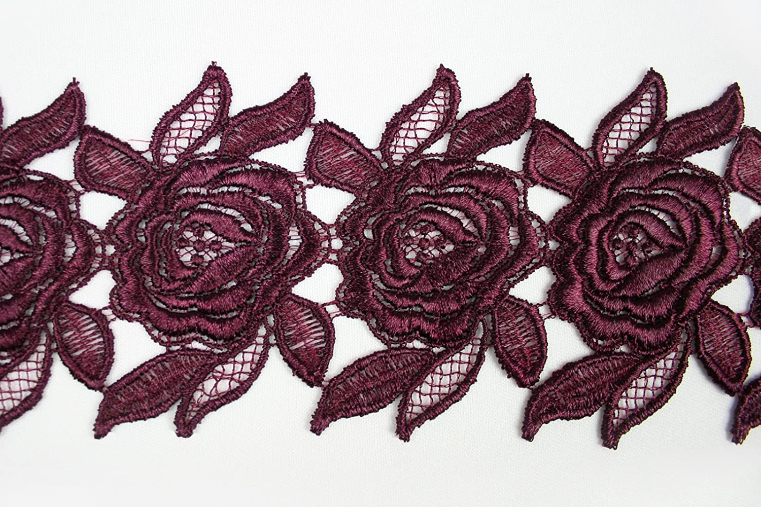 Burgundy 3 12 Colors Embroidered Rose Flower Venice Lace Trim Floral Guipure By Yard